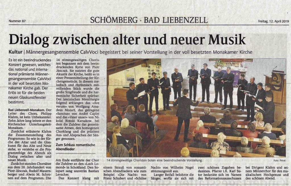 Berichterstattung im Schwarzwälder Boten vom 12.04.2019